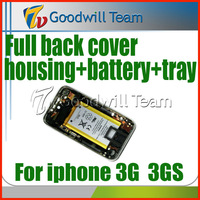 For iphone 3G 3GS back Cover housing with Front Bezel Frame and Battery sim tray full set Assembly 32GB 16GB 8GB