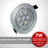 2pcs/lot 7W recessed led ceiling light downlight American bridgelux beans 85V-245V 110v 220v 240v 3year warranty : TFA07