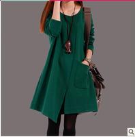 2014 autumn winter maternity clothing plus size loose women's one-piece dress irregular asymmetric Dress pregnancy women coat