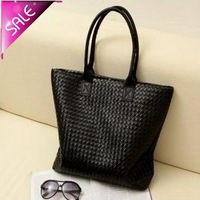FREE SHIPING 2014 New Factory pu leather Large woven handbag shoulder bag for woman LS0408