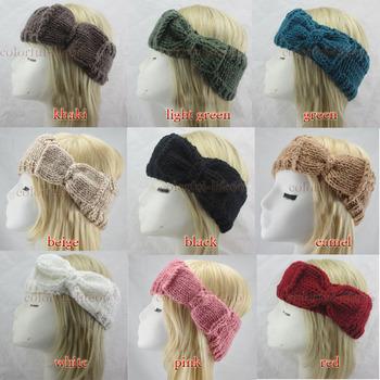12 Colours Women Knitted Bow Acrylic Headband Crochet Winter Ear Warmer Headwrap