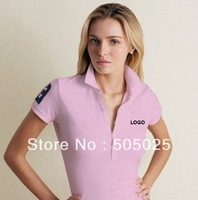 Support drop-shipping 2013 Hot female short sleeve  Women  POLO shirt 7-colors with LOGO horse