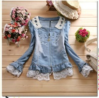 Women Coat  Women jacket Denim Jackets  Outwear Jeans Coat Classical Jackets Women Fashion Jeans coats rivets the female jackets