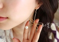 Free shipping more than $15+gift popular accessories jewelry irregular pearl plated gold silver alloy star earring hollow out