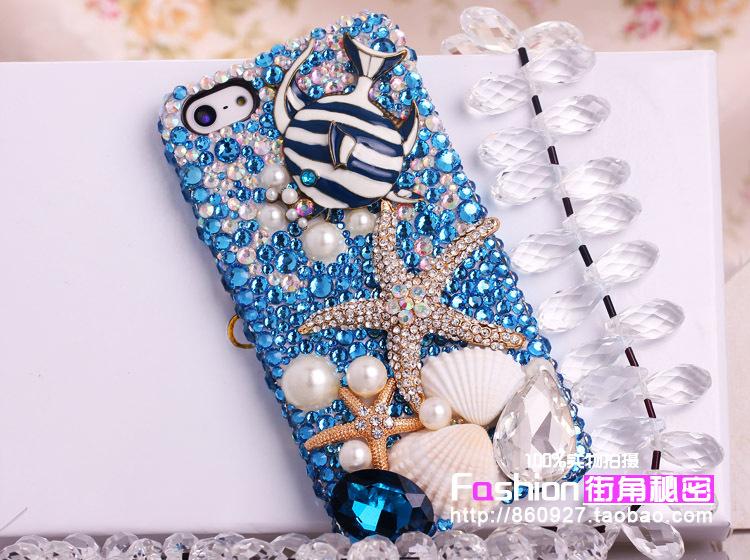 Sea shells starfish tropical fish pearl shell phone(China (Mainland))
