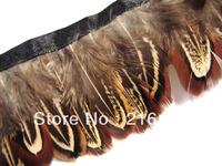 Free shipping- 10 yards/color Brown Black Alectoris chukar Pheasant Hackle feather fringe Trim