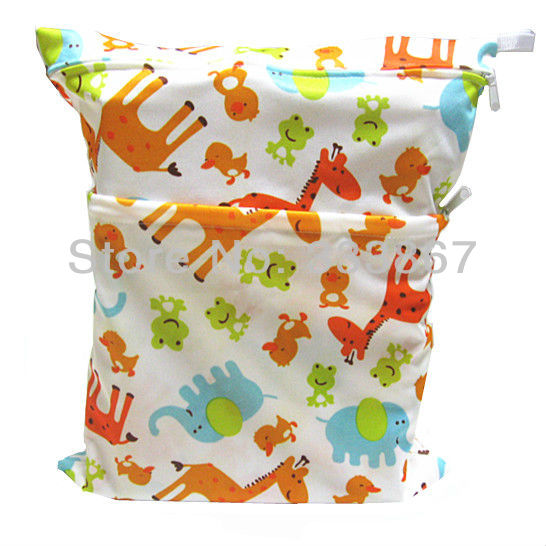 New Cute Wet Bag, Baby Diaper Nappy Bag, Waterproof, Reusable, Giraffe&Frog, Two Zippers,Retail/Wholesale(China (Mainland))