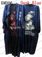 Fast Free Shipping 2014 Chinese Style Silk Satin Blue mens robe Plus Size Embroidery Dragon  S M L XL XXL XXXL MOQ 1pc