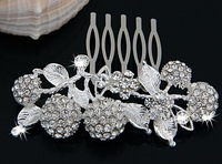 Free Shipping Silver Plated Crystal Cherry Bridal Tiara Hair Slide Comb Pin 10pcs