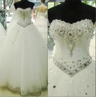 Free Shipping Royal fashion czech diamond wedding lace princess diamond embroidery wedding dress  Wedding Dress 2013 formal