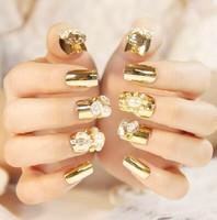 Big Discount! 24pcs/set Hot new fashion woman Gold fake nails tips finger jewelry free shipping