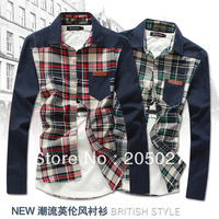 2013 autumn 2014 spring men's fashion slim fit  plaid long sleeve shirts men casual shirts high quality cheap price freeshipping