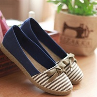 2014 Vintage Striped Bow Canvas Flat Shoes Women Spring Round Toe Shoes Casual Princess Ballet Shoes Chaussure Ballerina Shoes
