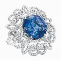 Micro insert cut flower ring woman 925 silver inlay Tanzanite ring