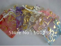 free shipping!!!1000pcs/lot 16x22cm Jewelry Organza love shape bags wedding candy pouch with paillette#002