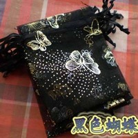 free shipping!!! 7*9cm Jewelry Organza Gift bags wedding candy bags with butterfly mapping ,black color,1000pcs/lot