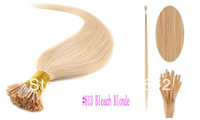 straight  #613 Bleach Blonde Color 14.16.18.20.22.24.26 .28inch Remy hair I-TIP stick Extension 0.5g/s 50g/pack Free Shipping