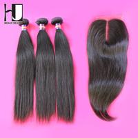 Hair Bundles With Lace Closures,4pcs lot,1 Piece Lace Closure with 3Pcs Hair Bundle,Malaysian Virgin Straight Hair Extension
