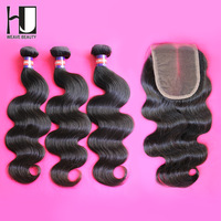 Lace Closure With Bundles,1 Piece Lace Closure with 3Pcs Hair Bundle,4pcs/lot,Malaysian body wave Free shipping by DHL