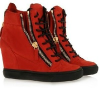 Free Shipping 2013 New GZ brand Sneakers for Women Summer Red Wedges Height Increasing Shoes Ankle Boots
