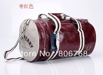 Free shipping 2013 Fred Men's barrel bag shoulder oblique cross PU messenger bag for man fashionable cylinder sports gym bag