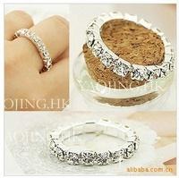 fashion jewelry retro pop Sparkling full rhinestone ring bright silver full shine rhinestone elastic ring Free shipping