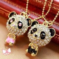 Min Order $10 free shipping Hot 2015 new fashion jewelry Korea ShanZuan drill lovely panda necklace sweater chain for women