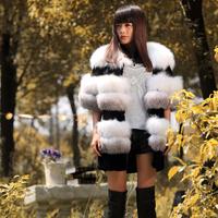 2013 New Fashion Short Fox Fur Coat Women Winter Overcoat Warm Outerwear(100% Real Fur Design),Free Shipping