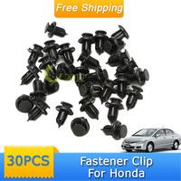 30pcs Nylon Plastic Rivet Black Fastener Bumper Clip Push Retainer Screw Fender FOR Honda Civic Accord CRV