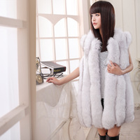 New Design White Fur Coats Customize Winter Full Leather Fox Fur Vest Plus Size(100% Real Fur)+Free Shipping