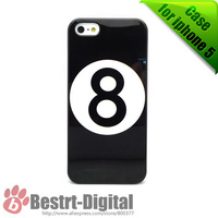 1Pcs Only,  Snooker Black 8 Ball, Hard Skin Cover Case for iphone 5/5S, Best sell for iphone 5S Case, New Look