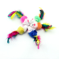 100 PCS High Quality Hot Sell Pet Supplies Colorful Feather Grit Small Mouse Cat Toy Color Random Mix T1017