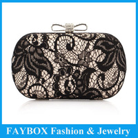 Hot sale Lady's Fashion brand bowknot crystal style Lace Gentle Day Clutch with chain wedding party Bridal evening Bag for women
