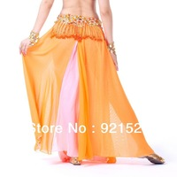 Free shipping!Secondary Color Double Slit Chiffon Skirt  Belly Dance Skirt Various Colors Sexy bra best choice stage star