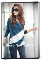 2013 autumn and winter NEW HOT Fashion trendy Cozy women ladies Noble clothes Tops Tees T shirt Long-sleeved Unique spell shirt