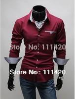 2014 New Turn-down Collar Men's Slim Fit Shirts Long Sleeve Dress Shirt Man Striped  Wholesale and Retail