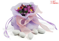 FREE SHIPPING-Wizard's pocket - Purple with artificial handmade flowers/ high quality yarn | European creative candy box