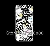 Black and White Folk Art Hard Cover Case for iPhone 4/4S for iPhone 5 5s 5c (#090) Personalized Custom 5pcs/lot  Free Shipping