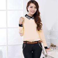 2013 Autumn Elegant Basic Shirt White Women's Long Sleeve Chiffon Blouse Top Free Shipping Women Plus Size Tops POLO Collar