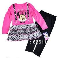 2014 New Kids Suit, Girl 2pcs Minnie Mouse set with a long sleeve dress + Leggings, children clothing set-4sets/lot-WYX-8J9323
