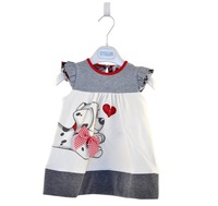 Retail 1PCS free shipping lovely cartoon dog bow baby girl dress with sequined love infant summer cotton dresses for girls