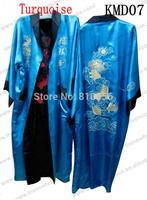 Fast Free Shipping  Men Chinese Silk Robe ,Reversible Dragon Kimono Bath Robes  S M L XL XXL XXXL