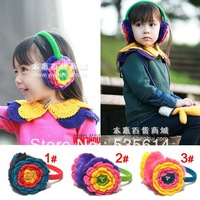 Retail ! Baby Kids Knitted earmuffs Girls woolen earflap Handmade Three layers flower Pearl decorate Top quality Free shipping