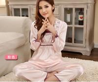 HOT SALE  Ladies' pajamas set silk full- sleeve nightwear home clothing Wholesale JYJ-04 Freeshipping