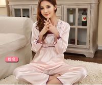HOT SALE  Ladies' pajamas set silk full- sleeve nightwear home clothing Wholesale JYJ-04 Freeshipping