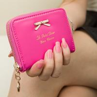 New 2014 fashion women female pu leather zipper bow mini wallets purses coin cases carteiras femininas,Free Shipping x