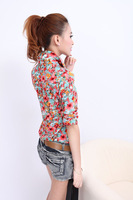 Lady Women Button Down T Shirt Casual Flower Shirt Blouse Short Sleeve Tops B