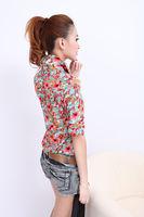 Lady Women Button Down T Shirt Casual Flower Shirt Blouse Short Sleeve Tops B