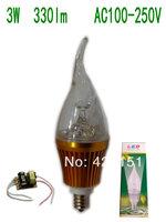 10pcs/lot C1 Golden Aluminum  E12  3W 3X1W  330lm Long tail Led Candle Bulb AC 100-250V