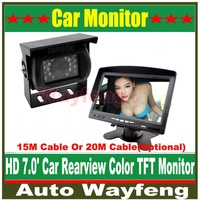 "Hot Selling 18 IR Reverse Camera +NEW 7"" LCD Monitor+Car Rear View Kit car camera BUS And Truck parking sensor 15M Or 20M Cable"
